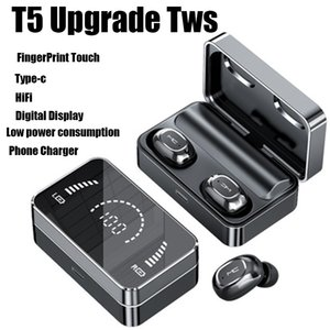 Bluetooth 5.0 TWS earphones T5 plus upgrade charger power HIFI T2 135 Noise Reduction AirDots headphone with Mic Fingerprint AI Control chagers Wireless Headset