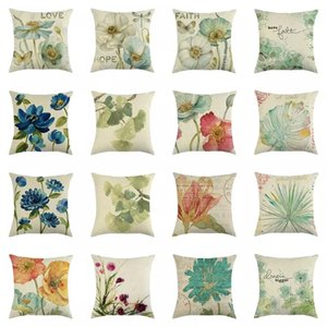 European American Style Flower Pattern Printed Linen Pillow Case Sofa Seat Bedroom Soft Cushion Cover Home Decor Gifts