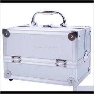 Storage Boxes Bins Aluminum Make Up Cosmetics Case Makeup Box Lockable Handle Cosmetic Train Jewelry Organizer Tray With Mirror Nnebc Ld86E