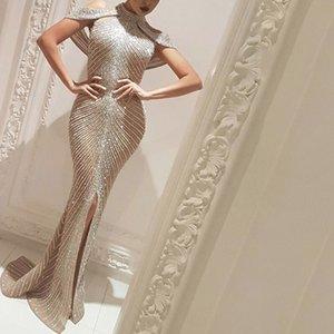 Split New Women's Gilded Sexy Slim Long Dress Tuxedo