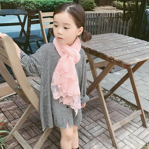 Scarves & Wraps Cotton Soft Long Scarf For Child Kid Solid Color With Floral Lace Shawl Cute Hollow Pendant Hijab Drop