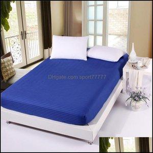 Sheets Bedding Supplies Textiles Home Gardensheets & Sets 100% Cotton Premium Satin Stripe Encryption Fabric Bed Sheet Four Corners With Ela