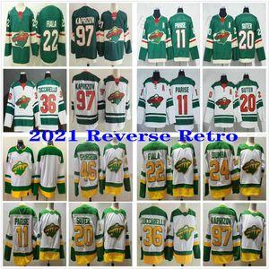 97 Kirill Kaprizov 2021 Minnesota Wild Retro Retro Hockey Jerseys 22 Kevin Fiala 11 Zach Parise 24 Matt Dumba 20 Ryan Suter 36 Mats Zuccarello 46 Jared Spurgeon
