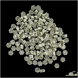 100 Pieces Wholesale Vintage Silver Rose Flower Pattern Loose Spacer Jewelry Making Bauc8 Aj48V
