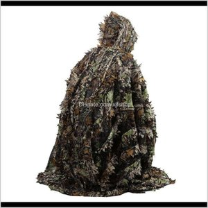 Tactical Jacket Sets Outdoor 3D Leaves Camouflage Camo Cape Stealth Ghillie Suit Cs Woodland Hunting Poncho Cloak 7Kfyy Wcmo0