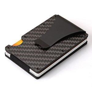 حاملي البطاقات 2021 ألياف الكربون RFID مصغرة محفظة نحيف المال كليب معدن الألومنيوم معرف الأعمال حامل مع حامي القضية المضادة للرؤوس