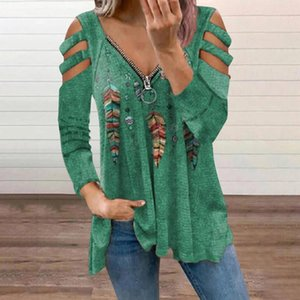 Women's Blouses & Shirts Harajuku Zipper Blouse Long Sleeve Retro Printing V-neck Loose Casual Pocket Ladies Top Blusas