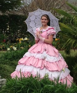 Vintage 19th Civil War Southen Belle Quinceanera Dresses Ball Gown Pink Azalea Trail Maids Dress Sweet 16 Prom Party Pageant Gowns