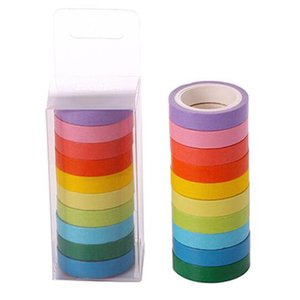 10PCS box Rainbow Solid Color Japanese Masking Washi Sticky Paper Tape Adhesive Printing DIY Scrapbooking Deco Washis Tapes Lot 2016