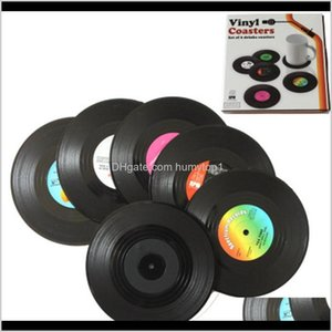 Fashion 6 Pcslot Home Table Cup Mat Creative Decor Coffee Drink Placemat Spinning Retro Vinyl Cd Record Drinks Coasters Zza1102 Ky10P Qs2Yh