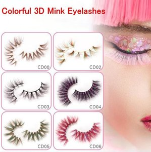 Colorful 3D Mink Eyelashes Makeup Thick Eye Lashes Cross Natural Long False Stage Show Fake Eyelash with packaging box
