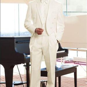 Men's Suits & Blazers Custom Made Groom Tuxedos Tailcoat Ivory Notch Lapel man Groomsman Men Wedding Prom Bridegroom (Jacket+Pants+Girdle) 2T93