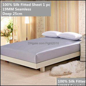 Sheets Bedding Supplies Textiles Home Gardensheets & Sets Silk Fitted Sheet Deep 25Cm 19Mm Seamless 100% Mberry Soft Solid Color Mticolor Mt