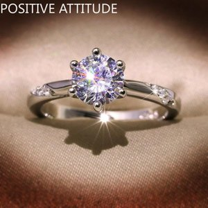 Cluster Rings Fashion 925 Silver Classic 6 Prongs 1 Shiny AAAAACZ Female Ring Wedding Valentine's Day Jewelry Gift
