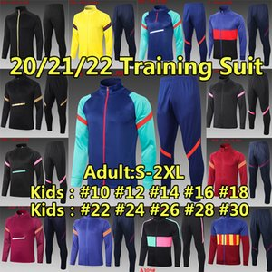 FC Barcelona Tracksuits Свитер набор зимний пиджак футбол Джерси 2020 2021 Messi Ansu Fati Men Kids Kits Surrey Cousssuit Учебная футболка