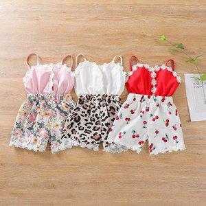 Baby Girl Jumpsuit Toddler Suspender Onesie Backless Sling Romper Lace Leopard Flor Cereja Impressão Infantil Outfit V Pescoço Criança Roupas de Verão