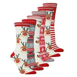 Unisex Christmas Stockings Xmas tree elk print cotton socks adult teenages mid-calf length crew sock santa claus snowflakes middle tube stocking H911FRGL