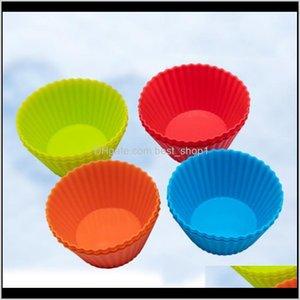 Stampi Cucina Cucina Bar Giardino Della Casa Consegna DROP 2021 3inch Sile Cupcake Foders Stampo Muffin Cases Forma rotonda Tazza della tazza Stampo SGS Torta da forno PA