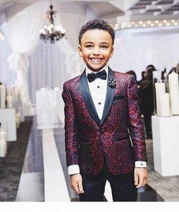 Burgundy Children suits for party occasion boy wedding suits set Children's Clothing Suits Blazers blazer for boys (Jacket+Black Pants