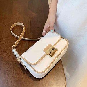 80% Rabatt auf Outlet Store Massivfarbe Leder Klappe Crossbody Taschen für Frauen Reise Handtasche und Geldbörsen Mode Einfache Umhängetasche Perle