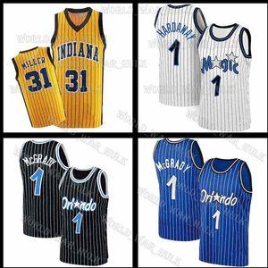 ميلر 31 ريجي كرة السلة جيرسي بيني فيكتور 4 Oladipo Hardaway Tracy 1 McGrady Jerseys Men