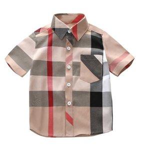 Baby Boys Plaid Shirt Summer Cotton Kids Turn-Down Collar Short Sleeve Shirts Fashion Boy Clothes Children Clothing