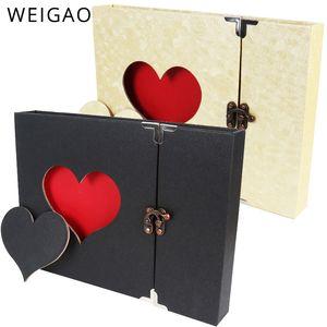 30 Pages Black Beige Scrapbook Handmade DIY Family Album Hallow Heart Memory Photo Album for Xmas Wedding Valentines Day Gift 210330