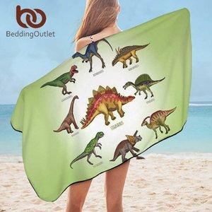 BeddingOutlet Dinosaur Bath Towel For Bathroom Jurassic Print Travel Beach Towel for Kids Boys Cartoon Microfiber Blanket 75x150 210724