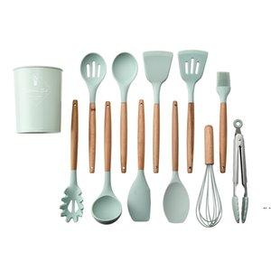 12 PZ / Set Utensili da cucina in silicone Maniglie in legno Pinze non tossiche Spatola Cucchiaio da cucina Gadget Animale da cucina Pentole HWB5989