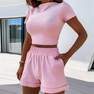 Women's Tracksuits Summer Women Short Casual Two Piece Clothing Tracksuit Pockets Loose Shorts Set Female O-Neck Sets