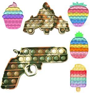Camouflage Push Bubbles Boys Fidget Sensory Toy Girls Rainbow Kawaii Fidget Toy Autism Antistress Squishy GWB9070