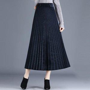 Skirts Women Clothing 2021 Autumn And Winter Corduroy Pleated Skirt Elastic Waist Mid-Length Elegant Femme Jupe &Saias Y947