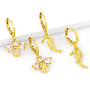 Hoop & Huggie EYIKA Lovely Animal Small Bee Parrot Earrings For Women Cubic Zirconia Gold Plated Pendientes Aro Jewelry Gifts Wholesale