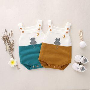 Herbst Frühling Baby Jungen Strampler Säuglingsbaby Mädchen tragen Nette Katze Gestrickte Overall Wolle Baby Kleidung Strampler Infant Jungen Mantel 882 V2