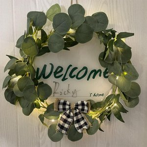 Decorative Flowers & Wreaths Simulation Eucalyptus Money Leaf Wreath Artificial Garland Hanging Pendants For Wedding Home Decoration Pograph