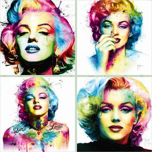 Vintage Art Classics Marilyn Monroe Poster Prints Star Watercolor Portrait Oil Painting on Canvas Wall Picture for Bedroom Home Decor A4DY