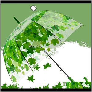 Umbrellas Woman Fresh Pvc Transparent Mushroom Green Leaves Arch Child Long Umbrella Rain Umbrella Xywbp Dl3Ag
