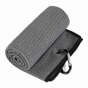 Golf Towel Microfiber Fabric Waffle Pattern Carabiner Resistant Clip Accessories