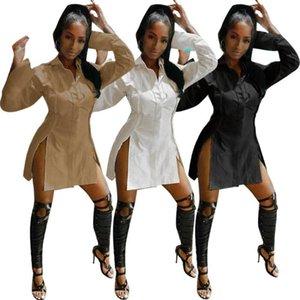Echoine Fall Autumn Shirt Mini Split Dress Sexy Patchwork Irregular White Black Party Dresses Club Vestidos Streetwear
