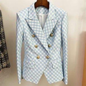 HIGH STREET est Designer Jacket Women's Slim Fit Lion Buttons Double Breasted Tweed Plaid Blazer 210929