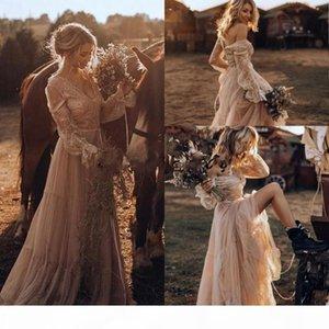 Vintage Country Western Brautkleider 2019 Spitze Langarm Gypsy Schlagen Boho Brautkleider Hippie Stil Abiti da Spos