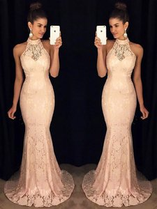 Lace Evening Dresses Halter Mermaid   Trumpet Sweep Brush Party Floor length Sleeveless Floor length Party Gowns Fashion