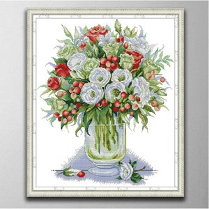 White and red rose Handmade Cross Stitch Craft Tools Embroidery Needlework sets counted print on canvas DMC 14CT  11CT