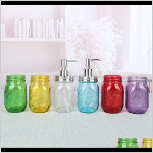 Bottles Jars 480Ml Mason Bottle Liquid Soap Dispenser Pump Glass Jar Stainless Steel Lid Countertop Lotion Bathroom Storage Tool Sea A F5Adb