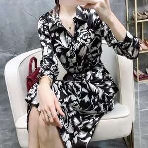 Casual Dresses Chinese Style Ink Peony Print Dress Women's 2021 Spring Temperament Bandage Waist Lining