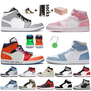 Nike Air Jordan 1 Off White Travis Scott Retro 1 1s ile Kutusu Orta Açık Gri Jumpman 1 1s Basketbol Hava Dijital-Pembe Korkusuz Yüksek OG Bio Hack Erkek Sneakers Ayakkabı