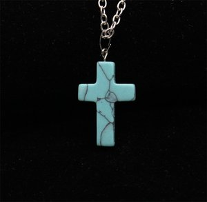 Deals Fashion Stainless Steel Chain Quartz Chakra Natural Stone Gemstone Rock Crystal Cross Charm statement Pendant Necklace For Women 35 J2