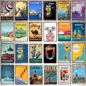 Yzfq Vintage Poster Poster Melbourne Ciudad Australia Metal Retro Signos Wall Pub Cafe Home Craft Beach House Decor DU-7195A Q0331