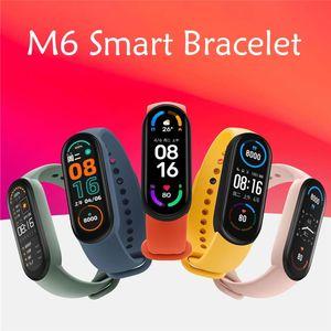 M6 Pulsera inteligente pulsera Pulseras Fitness Tracker Real Rate de la presión arterial Pantalla de monitor IP67 Reloj deportivo a prueba de agua para teléfonos celulares Android vs M3 M4 M5 ID115 PLUS