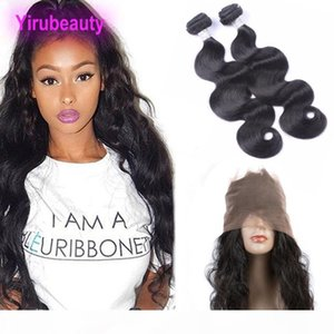 Peruvian Human Hair Bundles With 360 Lace Frontal Body Wave Hair Extensions With Closure Frontal With 2 Bundles 8-28 Inch From Yiruhair